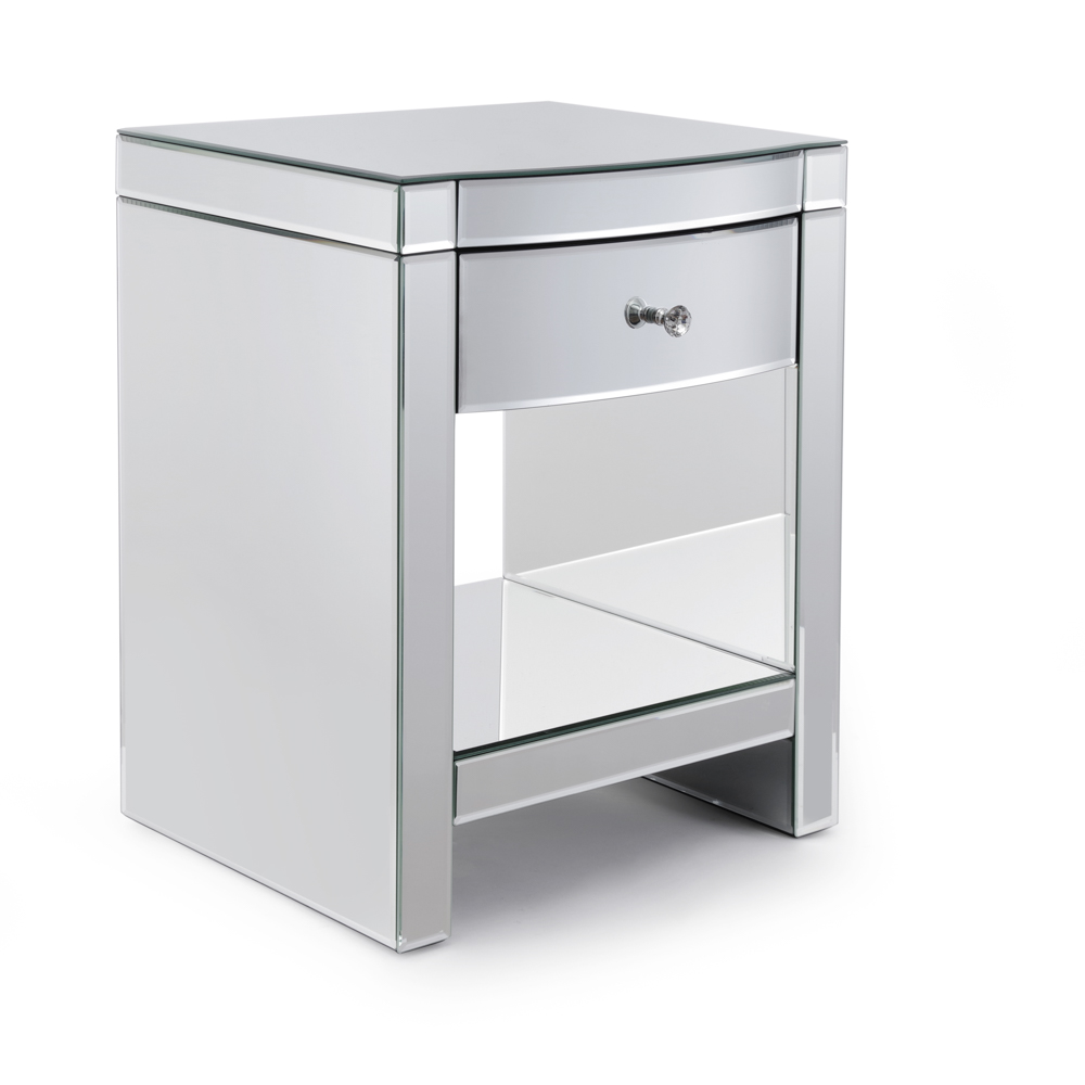 Layla Single Drawer Curved Mirrored Bedside Table