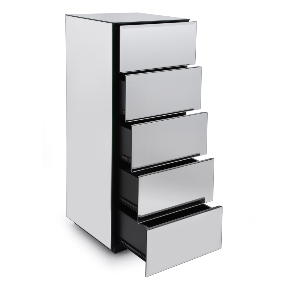 Brooklyn Toughened Mirrored Top Chest of Drawers