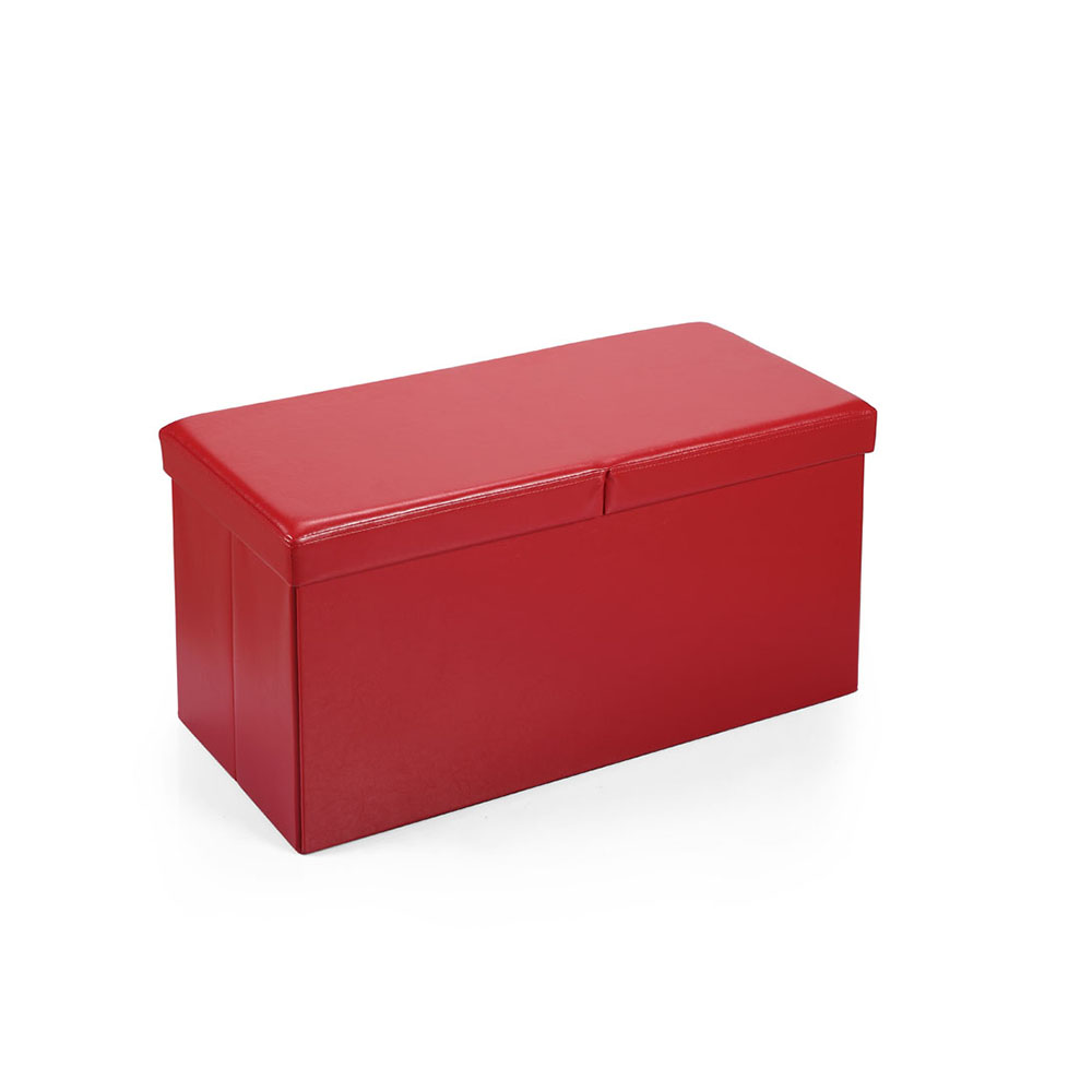 Hereford Range Foldable Large Faux-leather Ottoman-Red