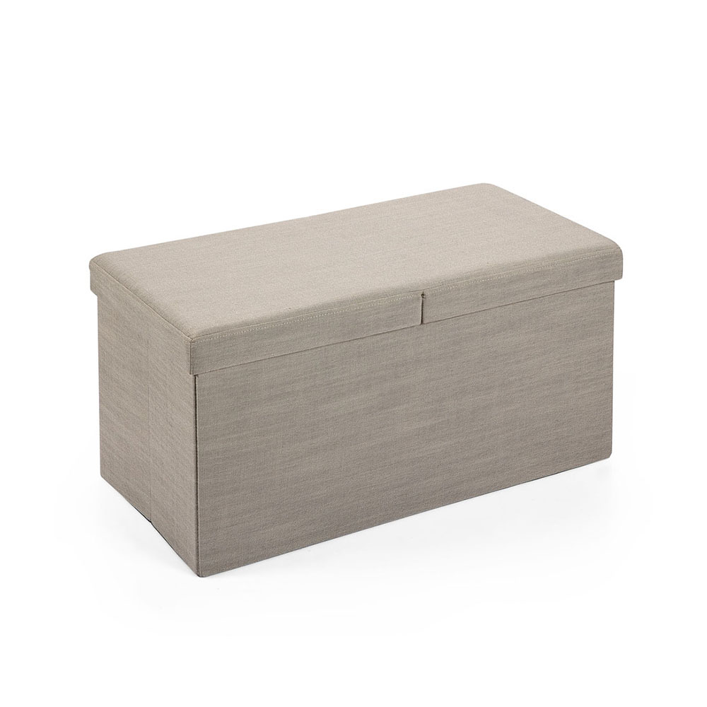 Hereford Range Foldable Large Linen Fabric Ottoman-Natural