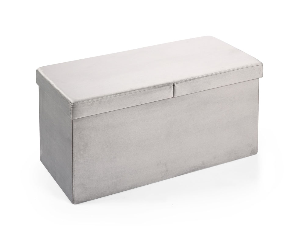 Hereford Range Foldable Large Velvet Ottoman-Grey