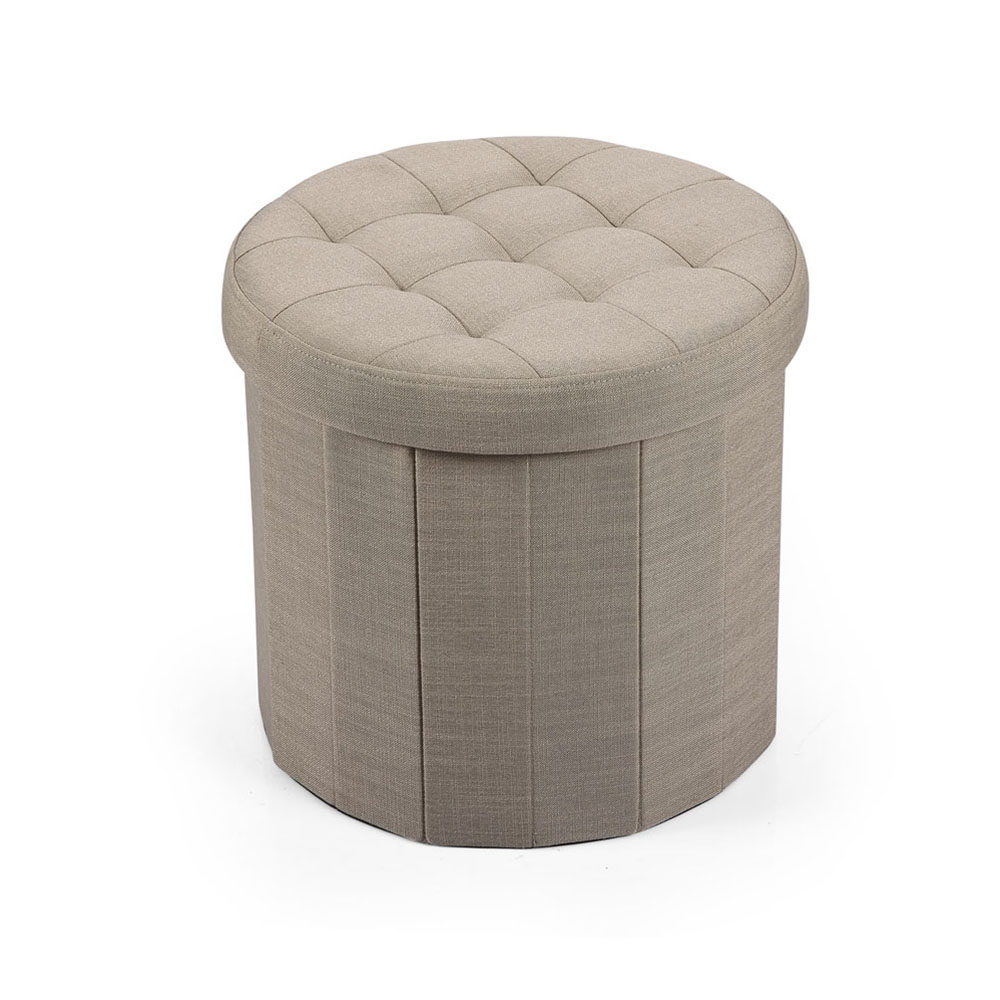 Hereford Range Foldable Round Linen Ottoman-Natural
