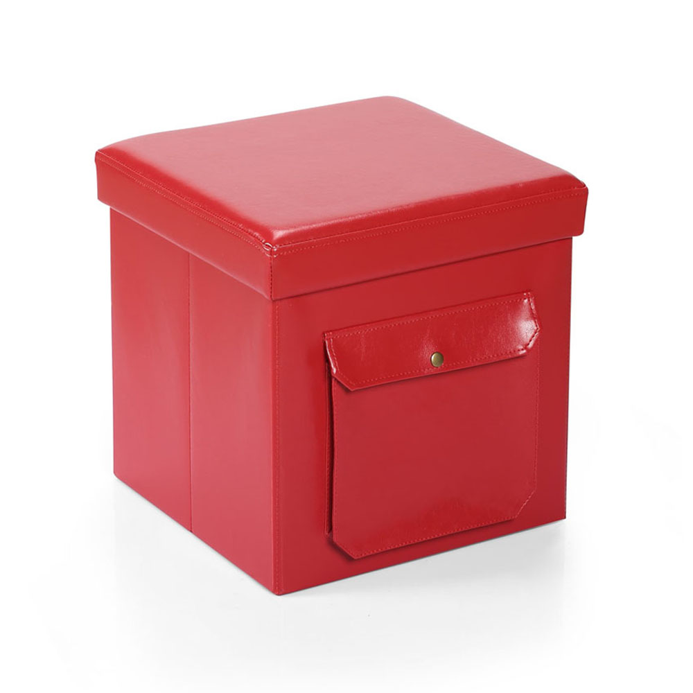 Hereford Range Foldable Cube Faux Leather Ottoman with Pocket-Red