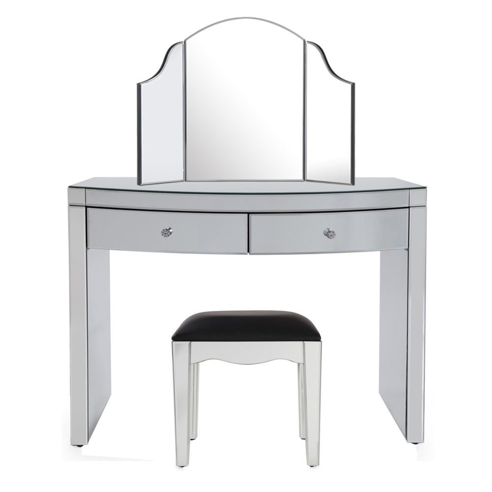 Layla Curved Mirrored Dressing Table Set