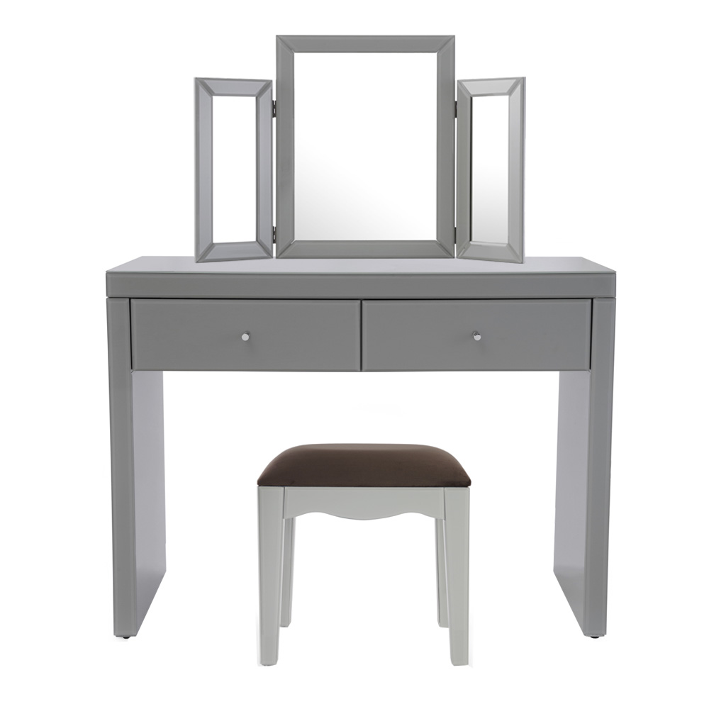 Madison Grey Glass Dressing Table Set