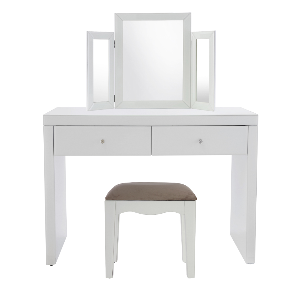 Madison White Glass Dressing Table Set