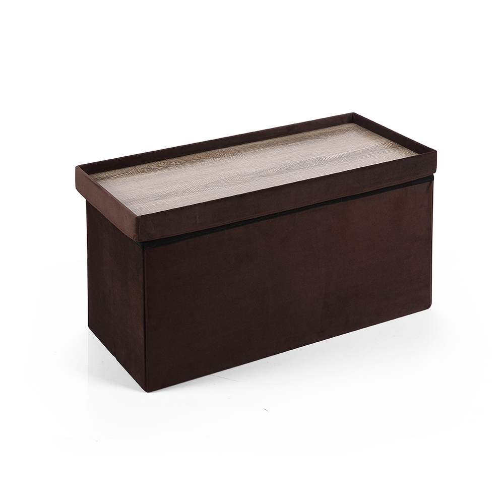Hereford Range Foldable Large Velvet Ottoman-Chocolate