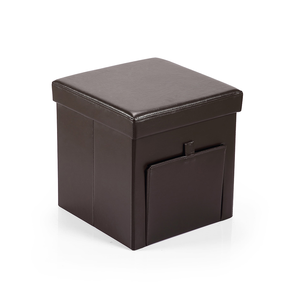 Hereford Range Foldable Cube Faux Leather Ottoman with Pocket-Dark Brown