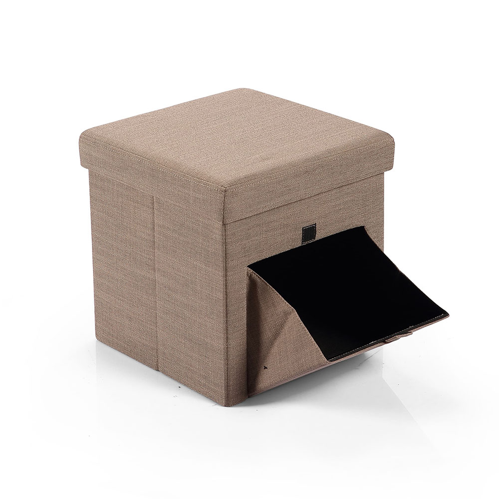 Hereford Range Foldable Cube Linen Fabric Ottoman with Pocket-Coffee