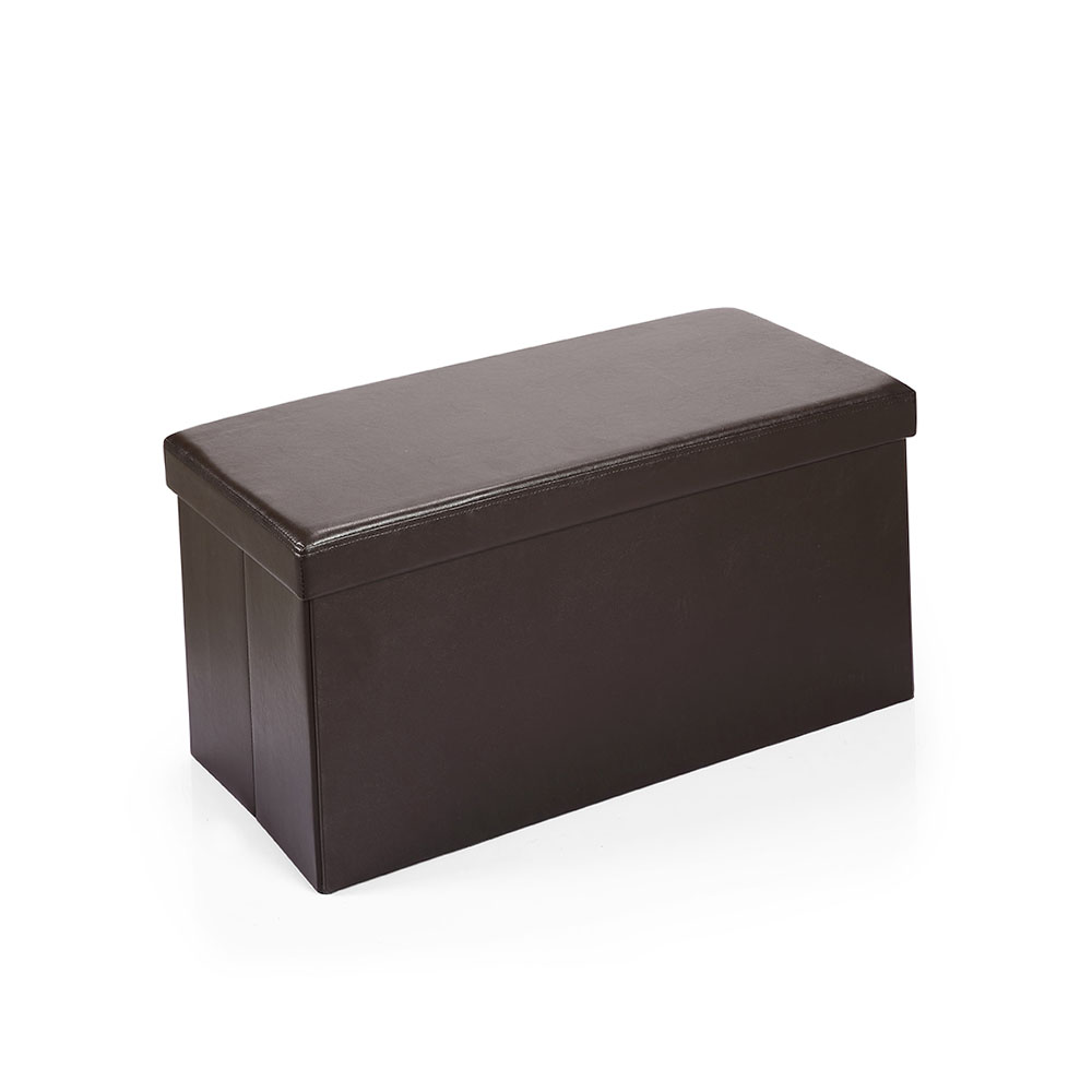 Hereford Range Foldable Faux-Leather Ottoman -Dark Brown
