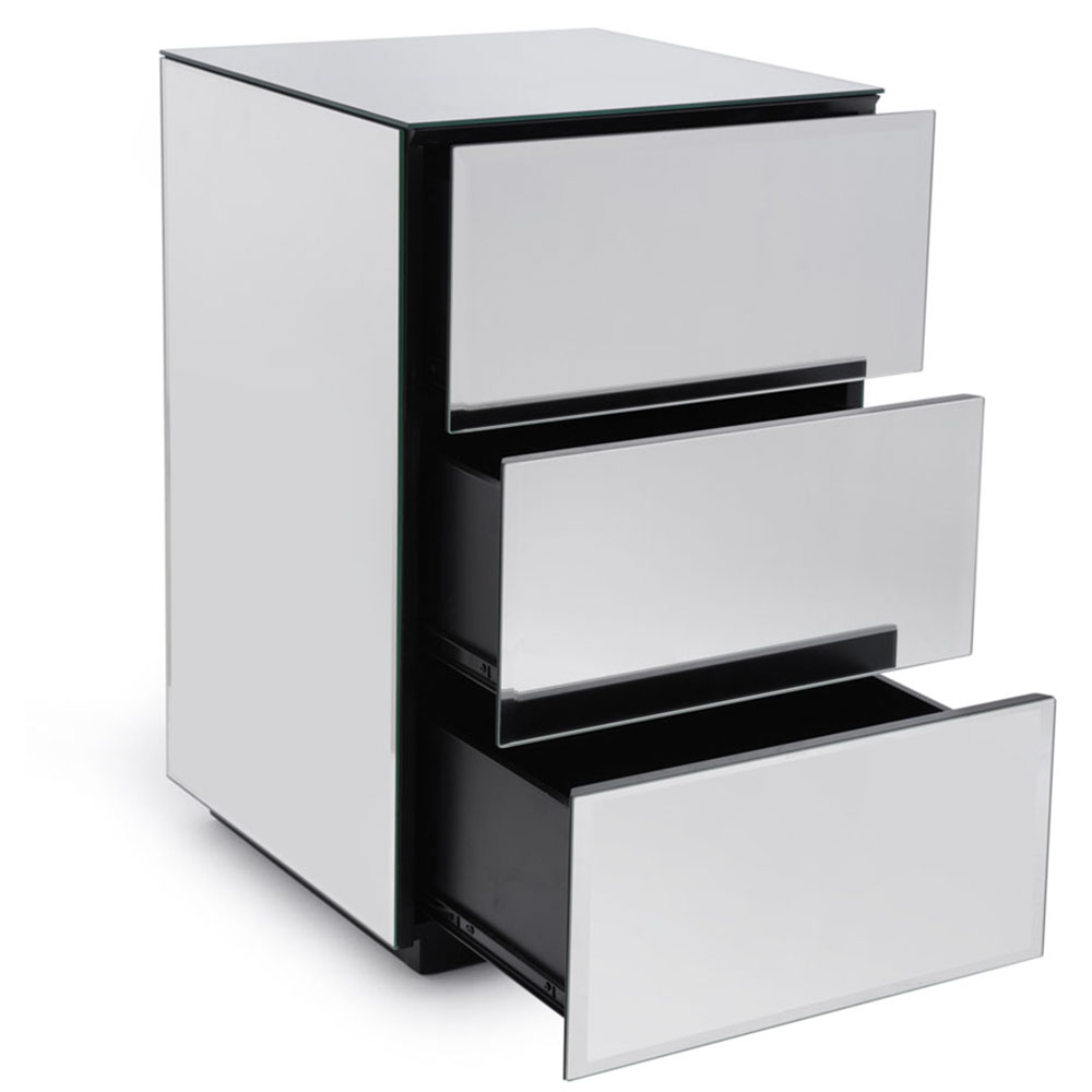 Brooklyn Toughened Mirrored Top Bedside Table